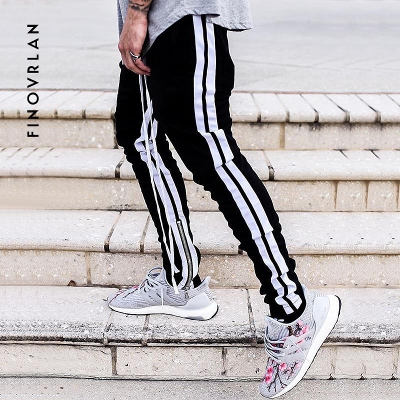 2018 New Autumn Hip Hop Mens Sportswear Pants Side Stripe Zipper Jogger Pants Elastic Waist Vintage Casual Pants Streetwear