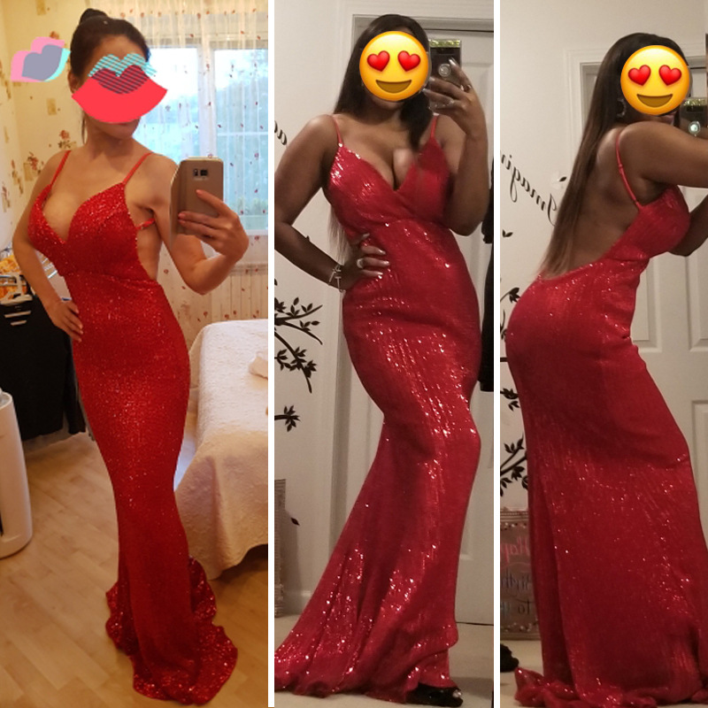Sexy Red   Prom     dress   V-neck New 2019 fashion Gold Sliver Sequin long party shiny Backless   Dresses