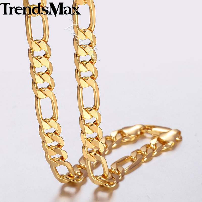 Trendsmax Men's Necklace Women Figaro Gold Filled Chain Jewelry for Men 9mm 45cm 50cm GNM53