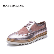 BASSIRIANA new 2019 genuine leather Fashion Casual Shoes woman Thick Platform Brand round toe spring summer 35-40 size