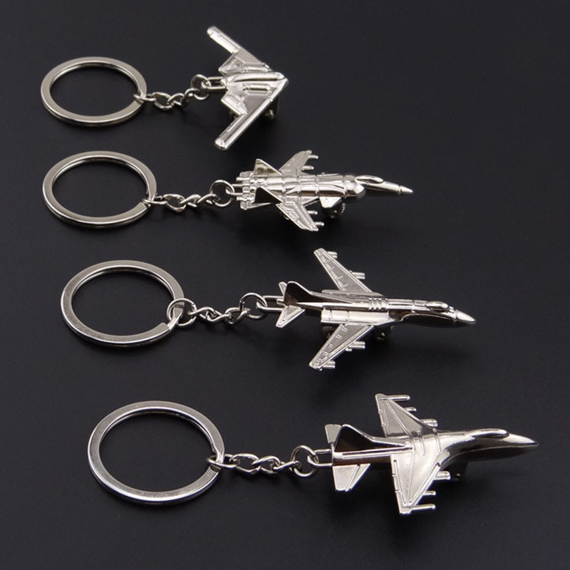 Fancy&Fantasy 1PC 3D New Airplane Keychain Aircraft Airplane Model Keyrings Keychain Cool Boy Men's Gift image