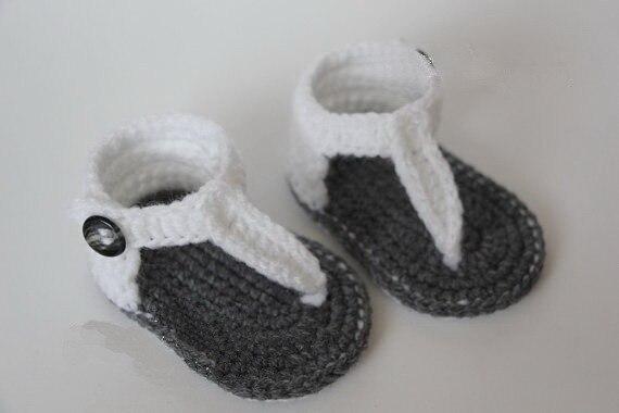 Baby zomer schoenen Haak baby sandalen, Baby gladiator sandalen, grijs wit  Maat  9 cm, 10 cm, ... 23774f65a1