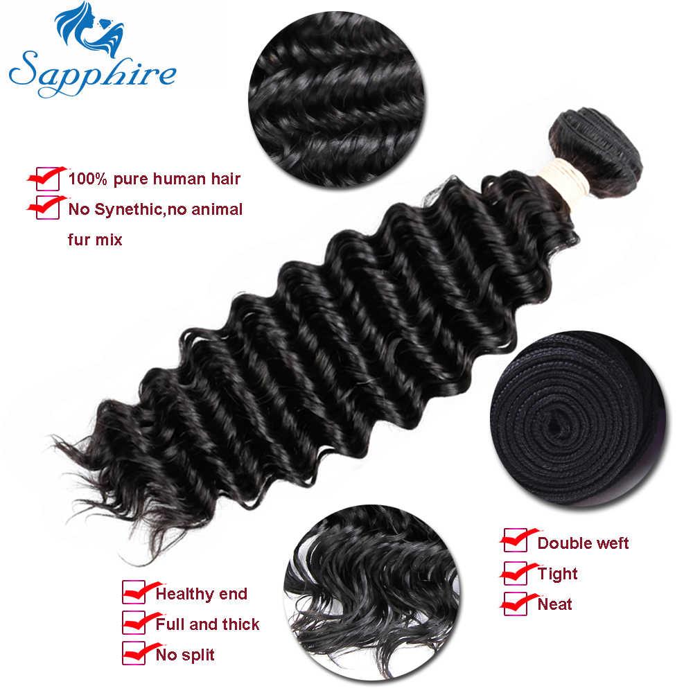 Сапфир 10A бразильские волосы плетение 3 пучки с закрытием кружева кудрявые Реми человеческие волосы глубокие волны пучки с закрытием