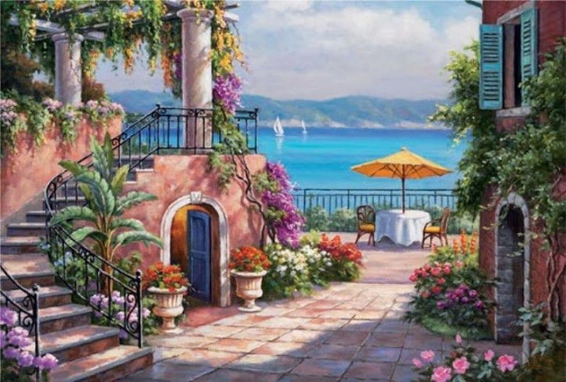 Mediterranean Balcony View on Framed Canvas Pictures Home Decoration Print