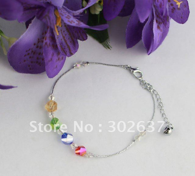 12PCS Multi-colours Glass Beaded Chain Anklets #21985