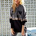 2017  Long-sleeved fashion PINK  new punk Harajuku    Leopard popular print fashionable Sweatshirts