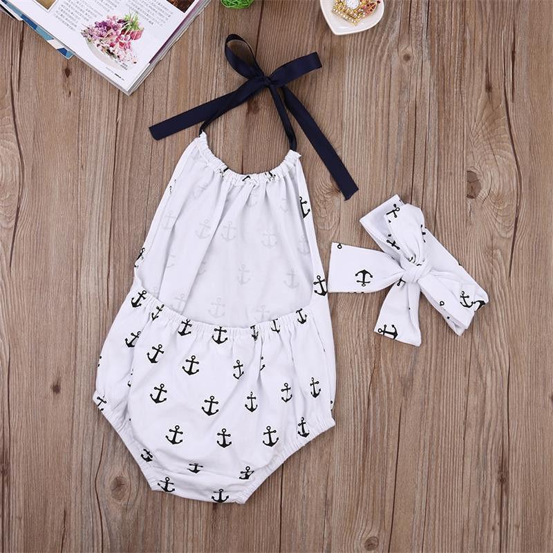 Комбинезон для новорожденных и маленьких девочек; боди с принтом якоря; комплект одежды + повязка на голову; коллекция 2016 года