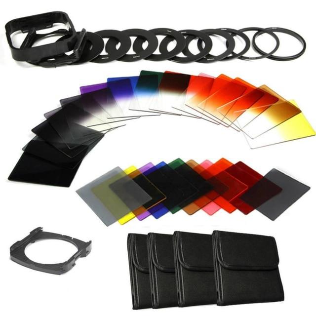 Zomei 40in1 Kamera Filtro Nötr Yoğunluk Tam Kiti Degrade Renk Kare ND filtre Cokin P Tutucu Hood Adaptörü Halkaları DSLR