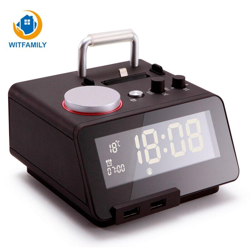 3 usb порта регулируемое освещение ЖК дисплей Bluetooth Радио настольные часы дисплей Повтор цифровой будильник электронные часы