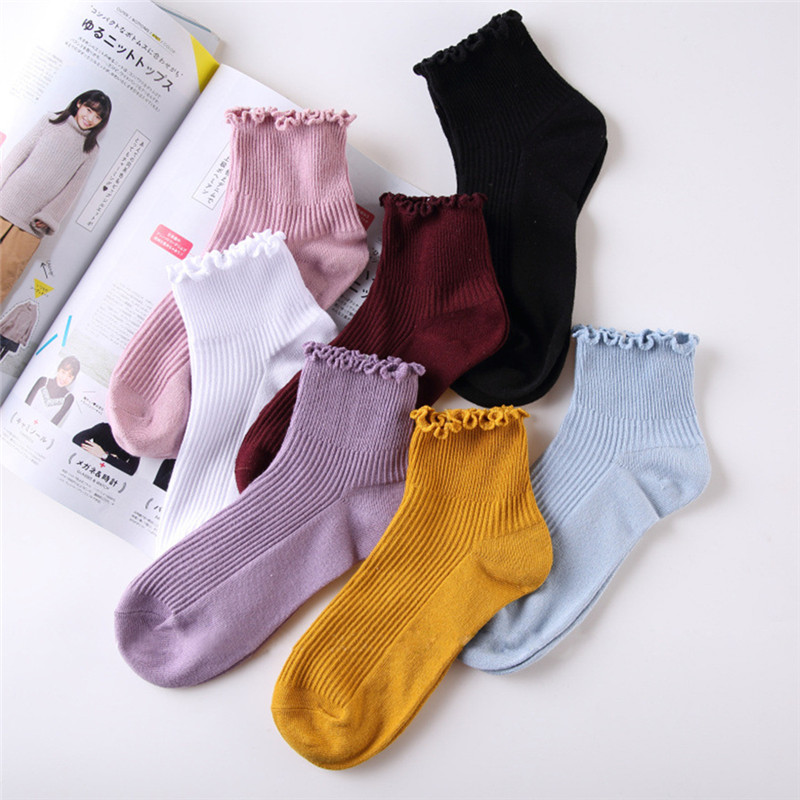 High Quality Pure Color Cotton Lace Ruffles Women   Sock   Frilly Edge Princess Girls   Socks   Summer Autumn   Socks