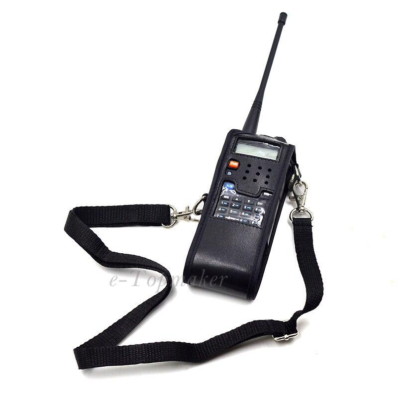imágenes para 2 unids Extendido Caso de Cuero Suave Negro Para Dos Vías de Radio de radio 3800 mAh Baofeng UV-5R UV-5RA Plus TYT TH-UVF9 Walkie Talkie XQF