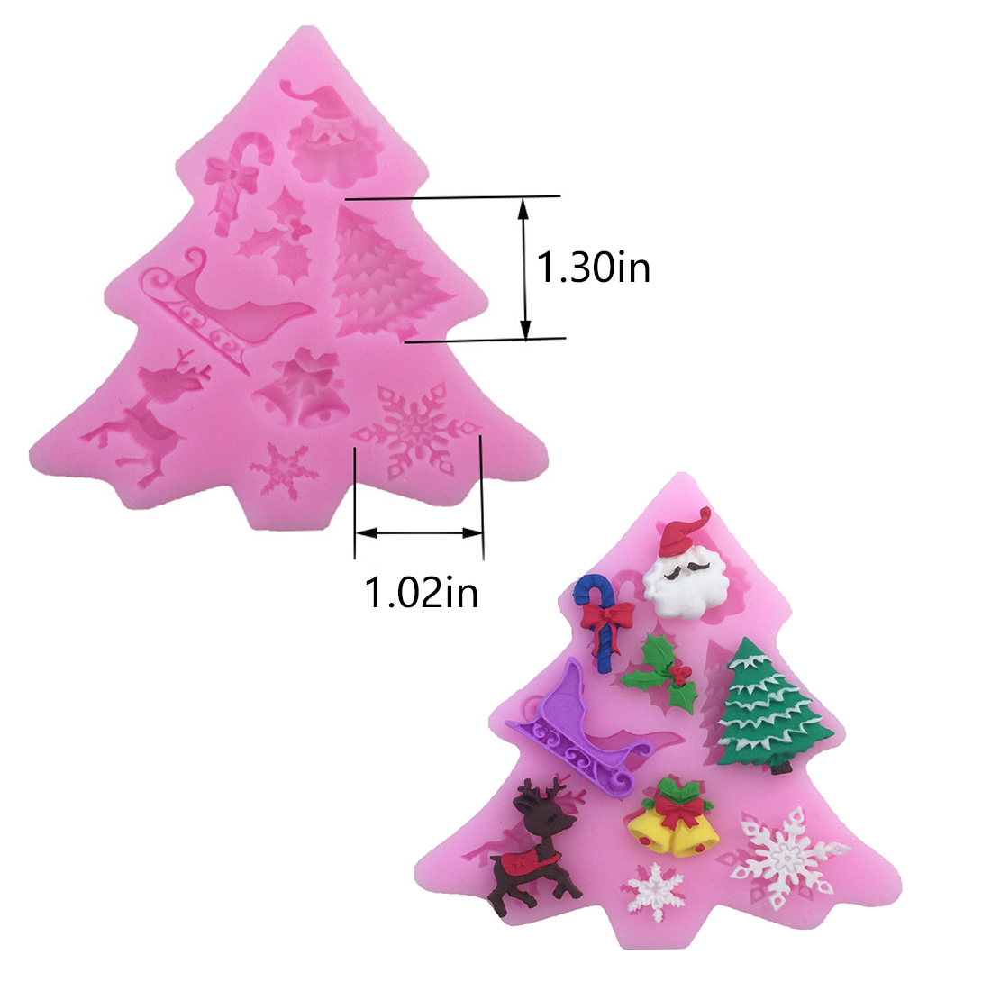 Top Sale Christmas tree Shaped Silicone Mold Cake Decoration Fondant cookies tools 3D Silicone Mould Gumpaste Candy Molds