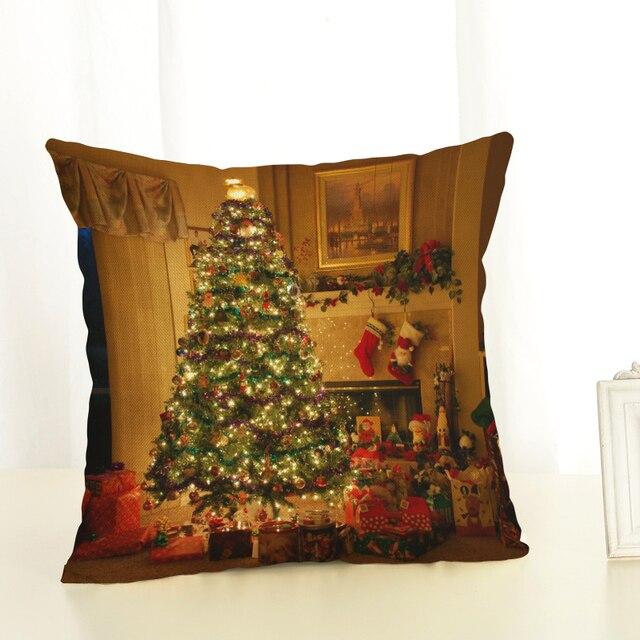 Us 306 49 Offboże Narodzenie Poszewka Boże Narodzenie Drzewo Dekoracyjne Poduszki Pokrowce Na Sofę Rzut Poduszki Samochód Krzesło Poduszka