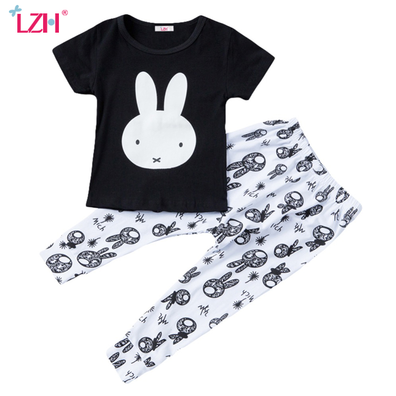LZH 2017 Summer Baby Girls Clothes Rabbit T-Shirt+Pants 2pcs Outfits Kids Clothes Boys Sport Suit Children Girls Clothing Sets dragon night fury toothless 4 10y children kids boys summer clothes sets boys t shirt shorts sport suit baby boy clothing