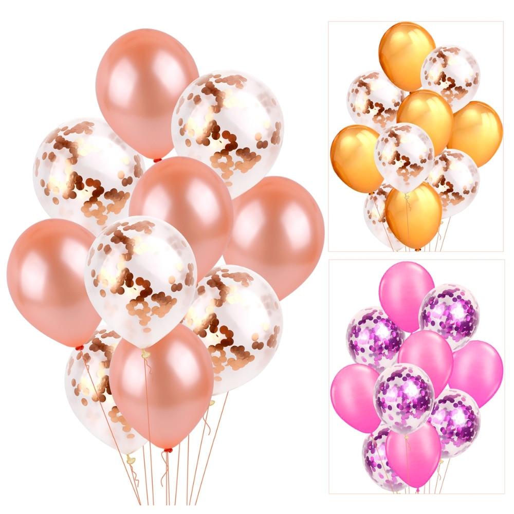QIFU 10st 12-tals konfetti Ballong Rose Guld Latex Ballonger - Semester och fester - Foto 6