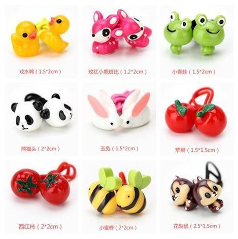 Free Shipping,2017 New MOQ=20pcs Girl Kids Tiny Hair Accessary 3D Animal Hair Bands Elastic Ties Ponytail Holder