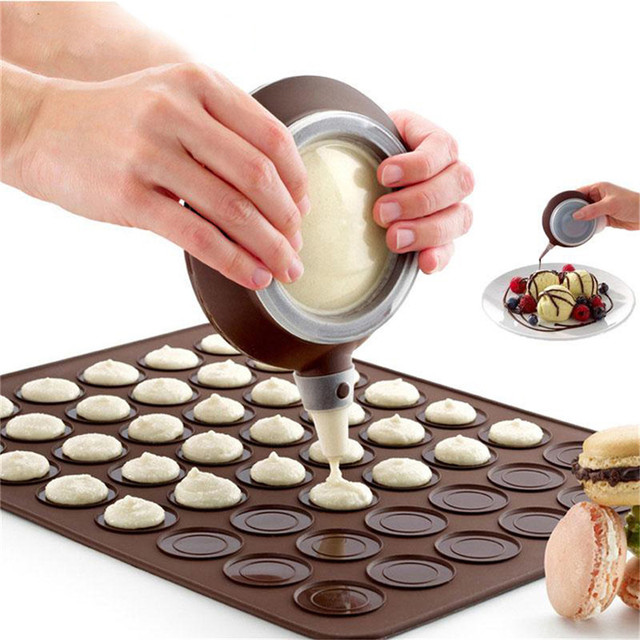 Bakery Silicone Cake Muffin Macaroon ,Macaron Piping icing Baking Tool Pot 4 Nozzles Set for Kitchen Cake Bakeware Tools 1