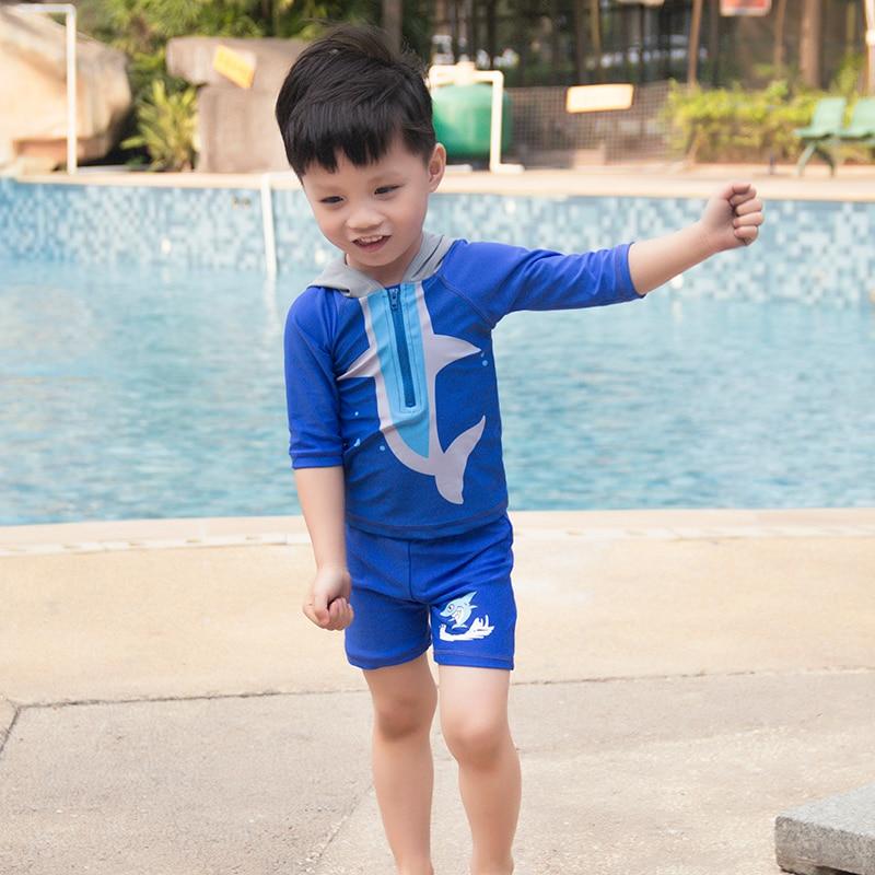 NEW Boys Swimwear Two pieces Boys swimsuit with Hat Shark design Kids  Beachwear Kids swim floats suit SW925|Children One-Piece Suits| - AliExpress