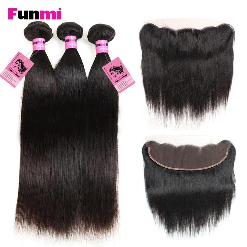 Funmi 3 StÜcke Peruanische Reine Haarbündel Mit Spitze Frontal Gerade Bundles Mit Frontal 100% Haar Bundles Für Salon Haar üBerlegene Materialien Haarverlängerung Und Perücken