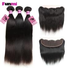 Funmi 3PCS Peruvian Virgin Hair Bundles med blonder Frontal Straight Bundles med Frontal 100% Hair Bundles for Salon Hair