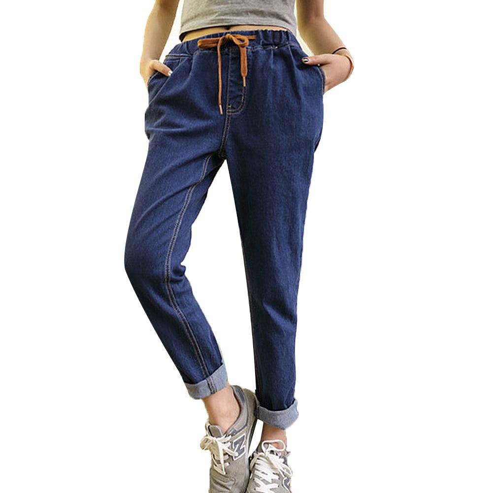 2016 Women Pants Jeans Summer Elastic Waist Vintage Denim Jeans Leisure Boyfriend jeans for ...