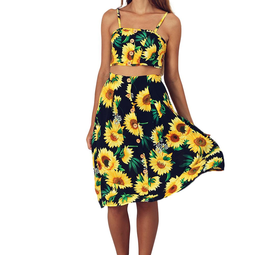 2018 Summer Female Dress Sexy Off Shoulder Summer Dress Women Sunflower Bow Tie Up Midi Dress Boho Beach Two-piece