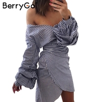 BerryGo Deep V Neck Long Sleeve Women Dress Shirt Sexy Off Shoulder Bow Tie Plaid Dress