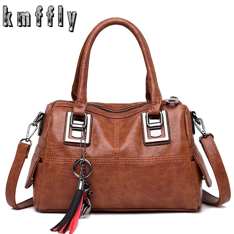 Винтажная кожаная женская сумка, женские сумки мессенджер, дизайнерские сумки через плечо, сумка мессенджер, Бостонская ручная сумка