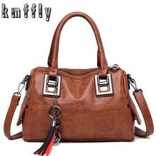 Vintage Lederen Dames Handtassen Vrouwen Messenger Bags Totestassel Designer Crossbody Schoudertas Boston Hand Bags Sac A Main