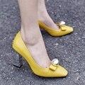 Корейский Стиль Черный Желтый Элегантный Квадратный Носок Толстые Каблуки женские Насосы 2017 Новый Дизайн Моды Красивые Дамы Партия Обуви