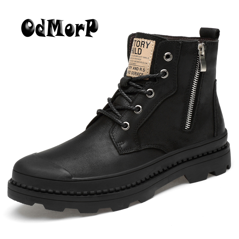 все цены на ODMORP Men Boots Genuine Leather Winter Motocycle Boots With Zip Fashion Mens Winter Shoes Men Big Size 47 Warm Fur Ankle Boot онлайн