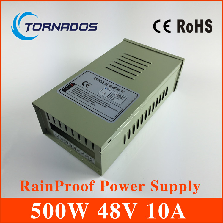 цена на Factory outlet! CE approved 500w 48v 10A metal case single output LED rainproof switch power supply ac-dc 48v (FY-500-48)