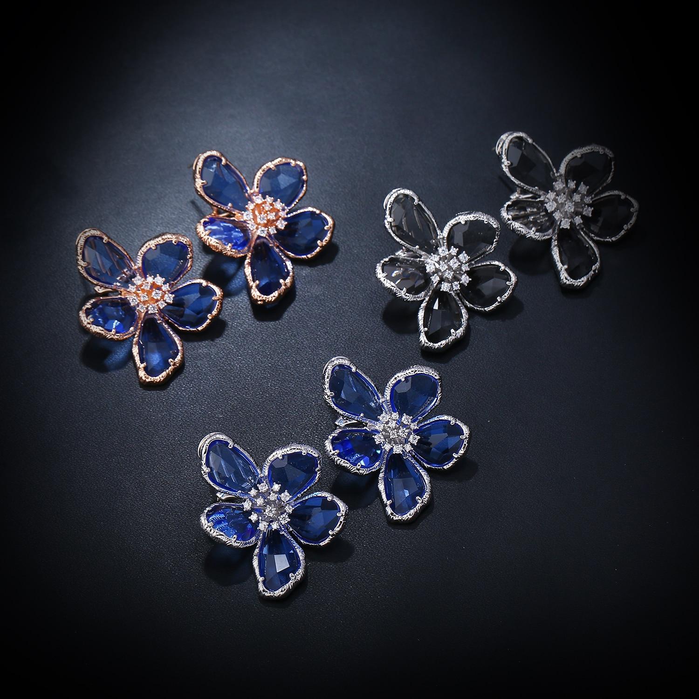 K Gadgets de Mode Grand Bleu Gris Cubique Zircone Super Grand Cristaux FlowerEarring Blanc Or Couleur Cocktail Frais Femmes Bijoux