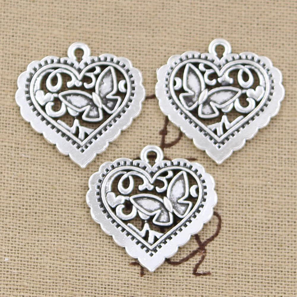 15 шт. талисманы сердце бабочка 25 * мм 24 мм античный посеребренные Подвески Изготовление DIY тибетское серебро ручной работы ювелирные изделия