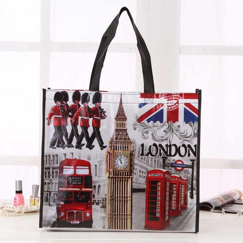 The British Flag London Bus Big Ben City Style Print Non-Woven Fabric Reusable Shopping Fashion Bag Gift Foldable Bag Eco Bag
