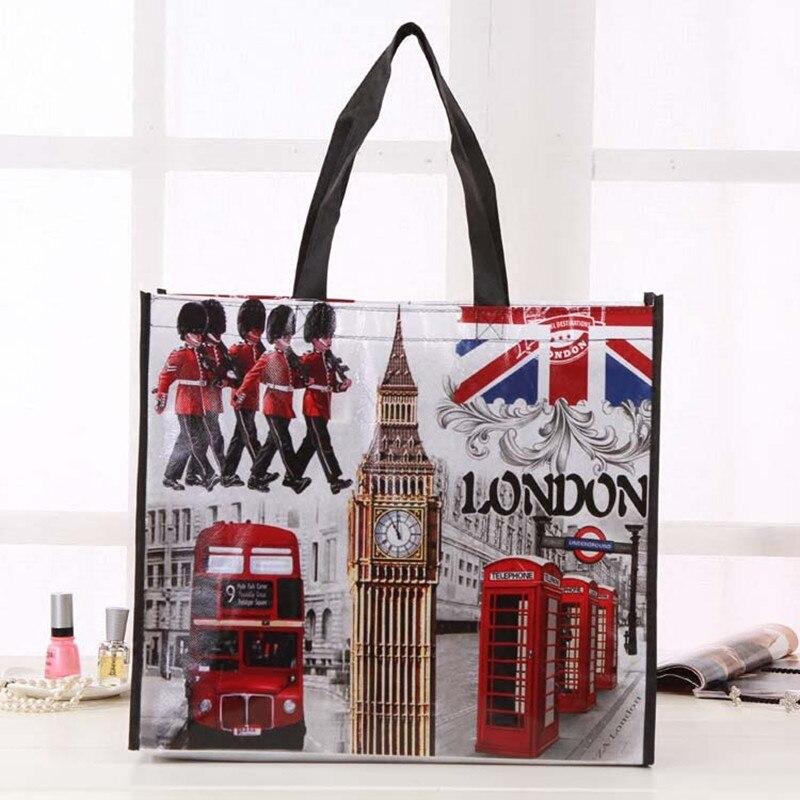 Le Drapeau Britannique Londres Bus Big Ben Ville Style D'impression Non-Tissé Tissu Réutilisable Shopping Mode Sac Cadeau Pliable sac Éco Sac