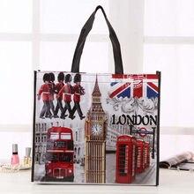 130f3fb436fd Британский флаг Лондонский автобус Биг Бен город Стиль принт нетканый  материал многоразовый шоппинг модная сумка подарок