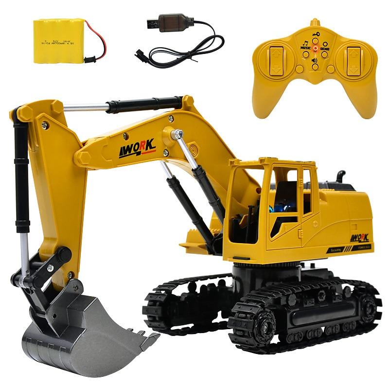 8CH simulación RC excavadora juguetes con luz y música de los niños camión RC juguetes RC ingeniería coche tractor brinquedos