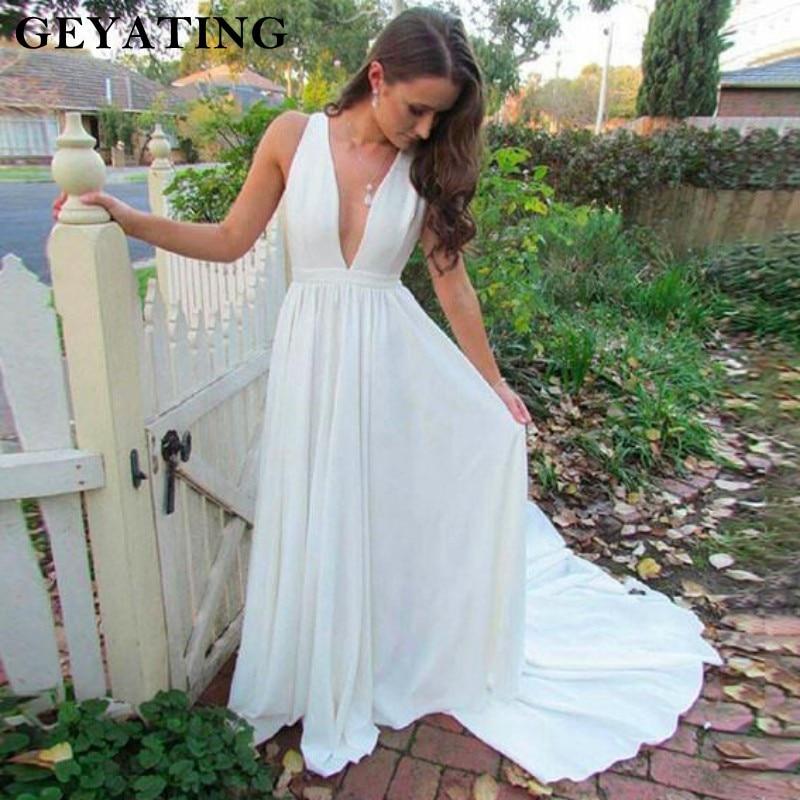 White Plunging V Neck Wedding Dresses 2018 Court Train