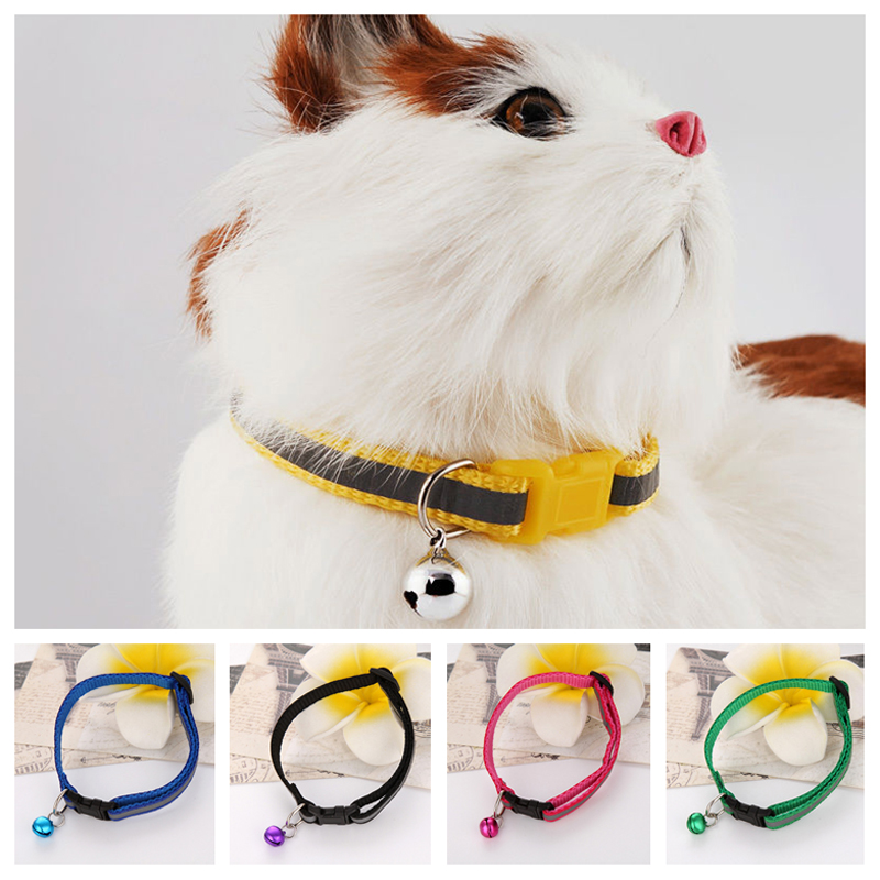Hot Sale 6 Colors Adjustable Cute Safety Buckle Bell Strap Cat Little Dog Glossy Reflective Pet Collar