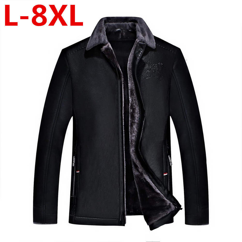 new 8XL 7XL 6XL 5XL 4XL Hot Sale Winter Thick Leather Garment Casual flocking Leather Jacket Mens Clothing Leather Jacket Men