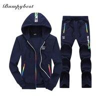 Bumpybeast Sporting Suit Mens Hoodie Zipper Cardigan Pants Suits Tracksuit Two Piece Set Men Clothing Sets
