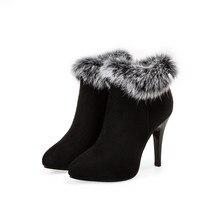 2017 冬のブーツビッグサイズ 33 45 新ponited足女性のセクシーな足首のかかとファッション冬の靴カジュアルスノーブーツT056