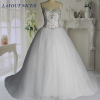 Princess Crystal Ball Gown Lace Up Wedding Dress Sweetheart Corset Bodice Beads White Tulle Court Train