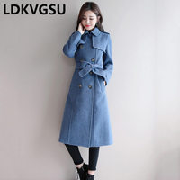 Woolen Coat Female Long 2018 Autumn Winter New Double Breasted With Belt Slim Fashion Smoky Blue Wool Coat Plus Size Is1037