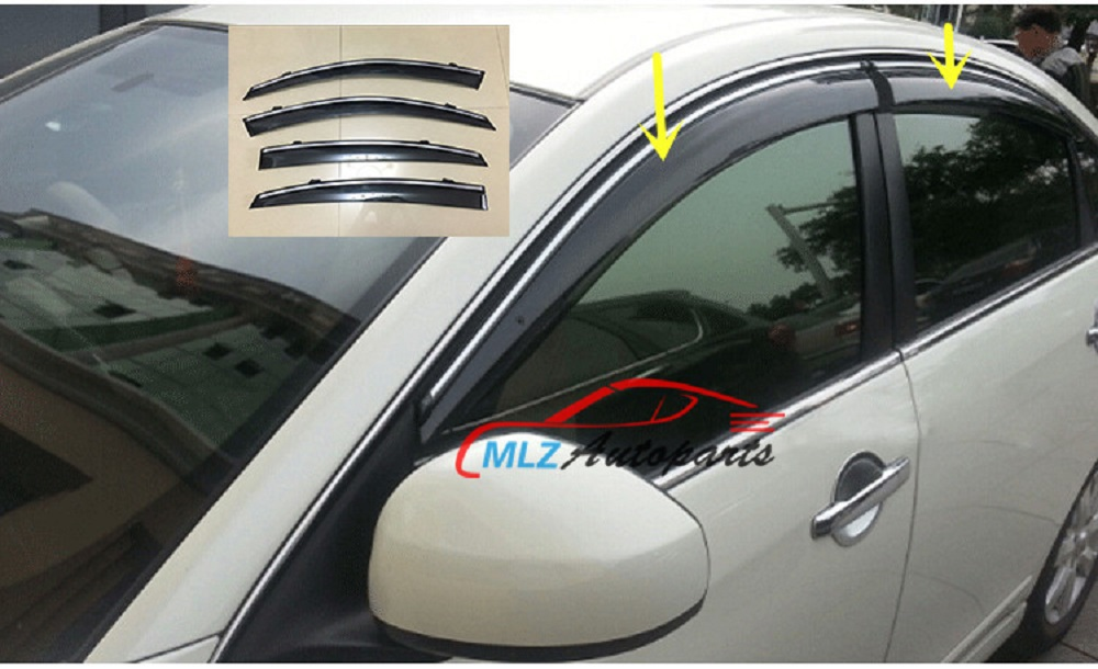 Window Rain Deflector Visor Super 4pcs set Vent Shade Sun Guard Shield For INFINITI FX 35 37 50 2009 2010 2011 2012 2013 auto rain shield window visor car window deflector sun visor covers stickers fit for toyota noah voxy 2014 pc 4pcs set