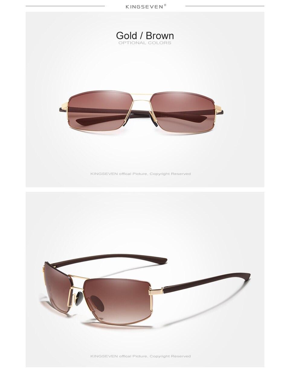 KINGSEVEN Brand Design UV400 Sunglasses Gradient Men Women Driving Male Square Sun Glasses Stainless steel Eyewear Oculos Gafas