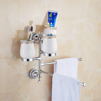 Wall Mounted Porcelain Crystal Movable Towel Rack Wc Towel Bar Toilet Towel Hanger Bathroom Towel Holders