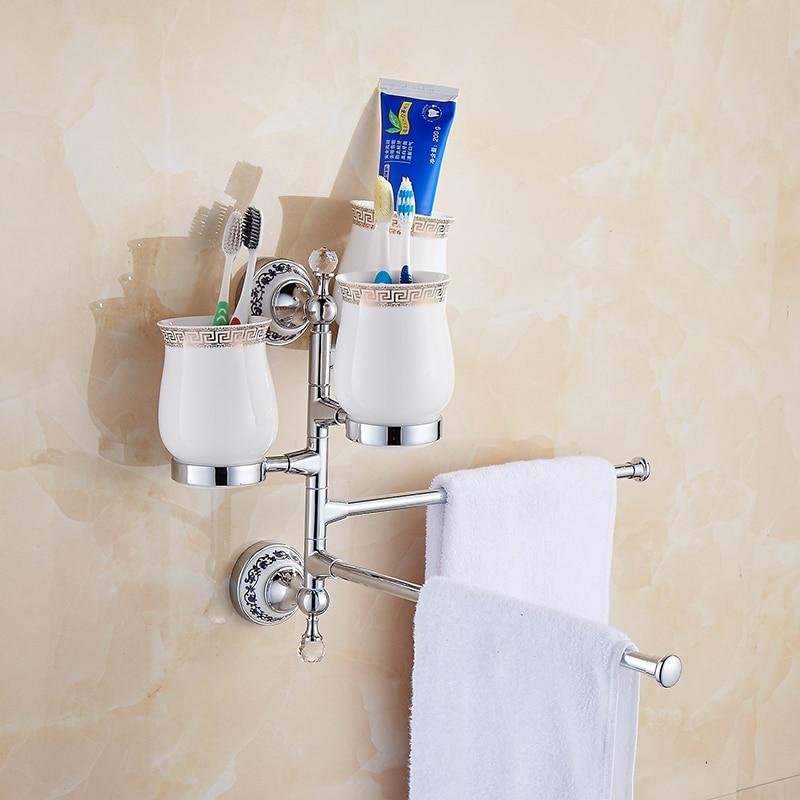 wall mounted porcelain crystal movable Towel Rack wc Towel Bar Toilet Towel Hanger Bathroom Towel Holders cup Bath Hardware Set tower bath towel dual bar aluminum alloy hanger rack silver