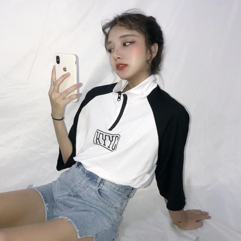 Sporting Hip Hop Womens Clothing Summer New Ulzzang Korean Hipster Harajuku Turn-down Collar Chinese Print Loose Casual Short Top Shirts Women's Clothing